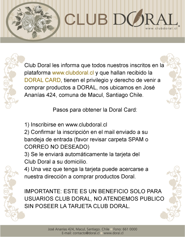 Beneficio usuarios Club Doral